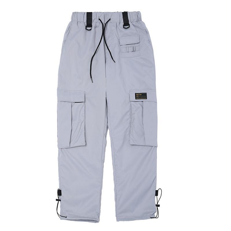 80cd4bd9b0 Pantaloni sportivi Hip Hop Uomo Donna Autunno Multi Tasche Pantaloni cargo  argento arancioni Uomo Streetwear Pantaloni elastici Pantaloni casual da ...