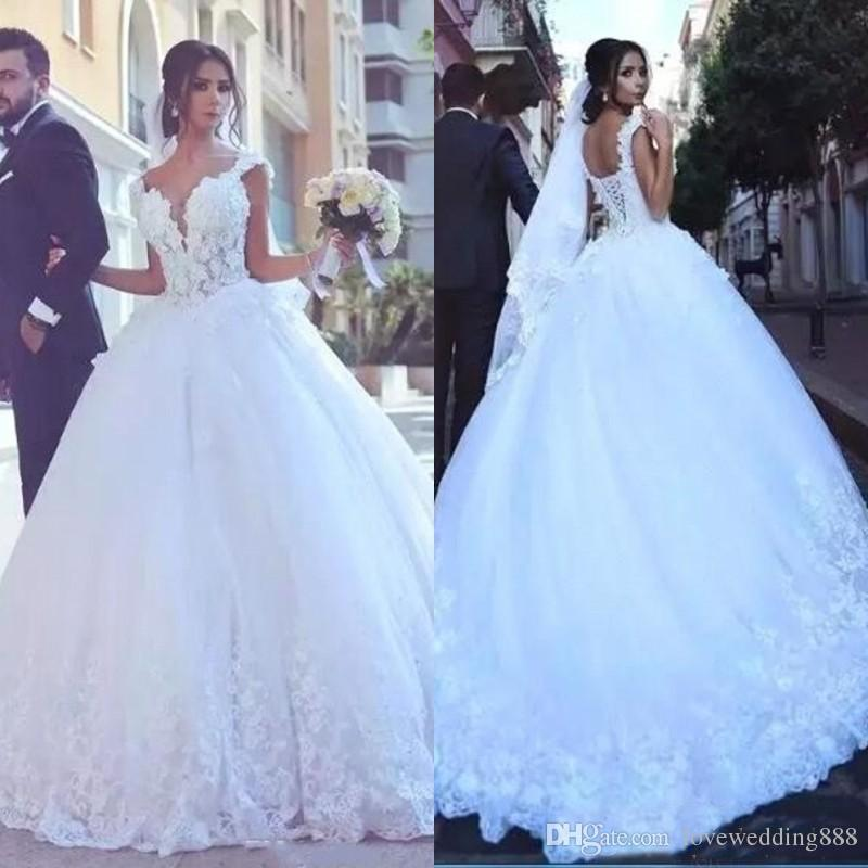 2018 Bling Said Mhamad Ball Gown Abiti da sposa Dubai Arabo Custom Made Corte dei treni Applique Lace Nuziale Vestido de noiva