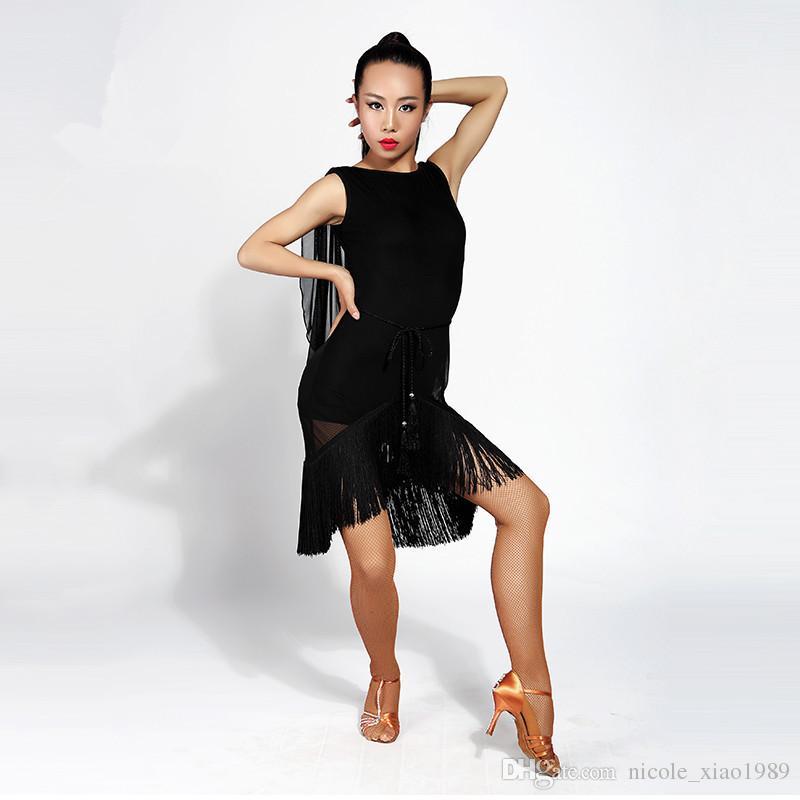 New Women Latin Dance Dress salsa tango Cha cha Ballroom Competition Practice Dance Dress Sexy Sleeveless Tassel Dress S-XL