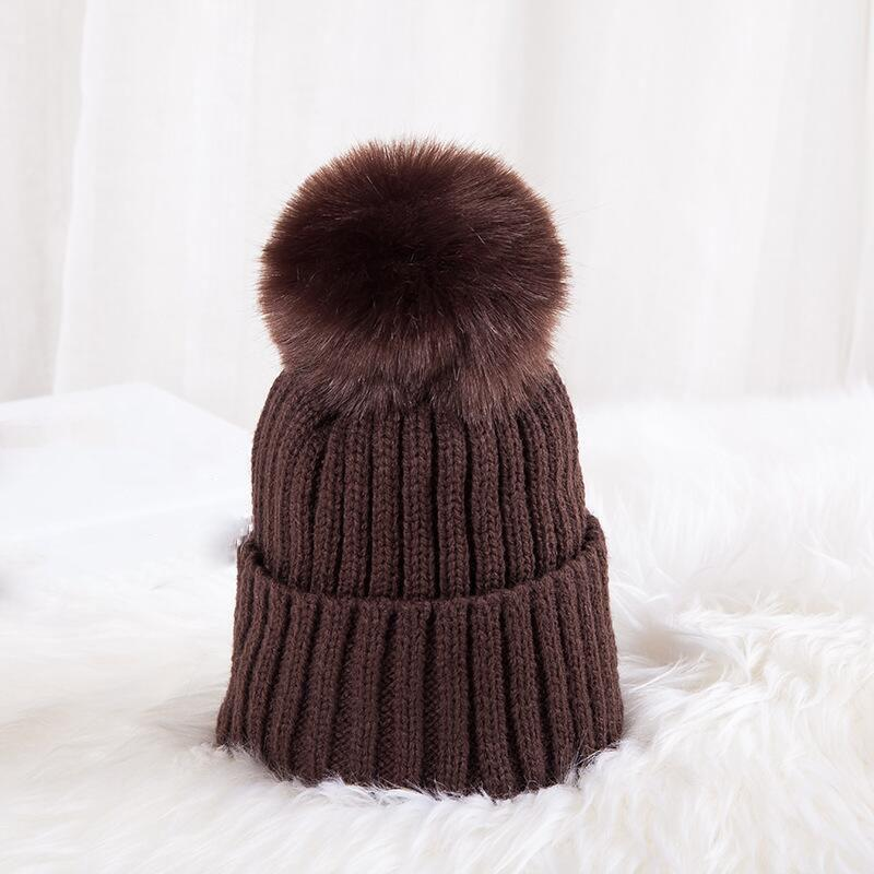 2019 Candies Color Pompom Hat Boy Winter Caps Knitted Wool Cotton Hats Faux Fur  Pom Poms Skullies Beanies Bonnet Girls Children Cap From Gqinglang b2ffe5ecd59