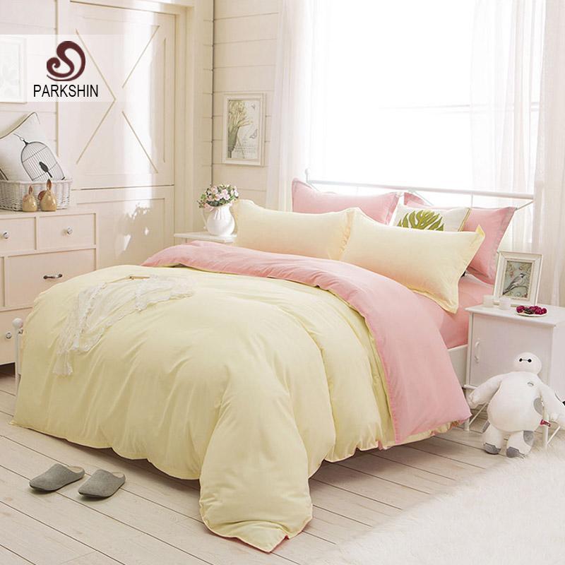 Parkshin Beige And Pink Solid Color Bedding Set Comfortable Plain