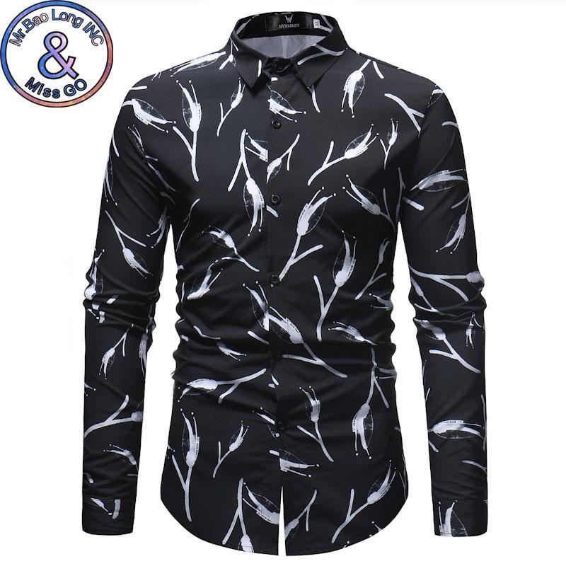 c6372348e3 Compre Camisa Floral Blanca Negra Clásica Hombres 2018 Primavera Otoño  Camisa Casual Nueva Camisa De Vestir Para Hombre De Negocios Camisas De  Manga Larga A ...