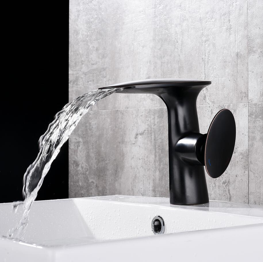 2018 White/Black Bathroom Basin Faucet Hot And Cold Brass Waterfall ...