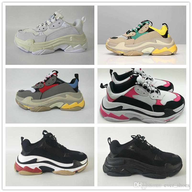 253592d55b6899 2018 INS Fashion Paris 17FW Triple S Sneaker Triple S Casual Luxury Dad  Shoes For Men S Women Beige Black Sports Tennis Running Shoe 36 45 Shop  Shoes Men ...