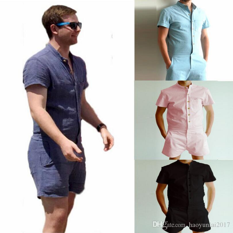 f9f874ec8162 Fashion Mens Stretch Jumpsuit Male Short Sleeve Rompers Short Cargo Pants  Summer Single Breasted Tops Zipper Trousers Overalls Canada 2019 From ...