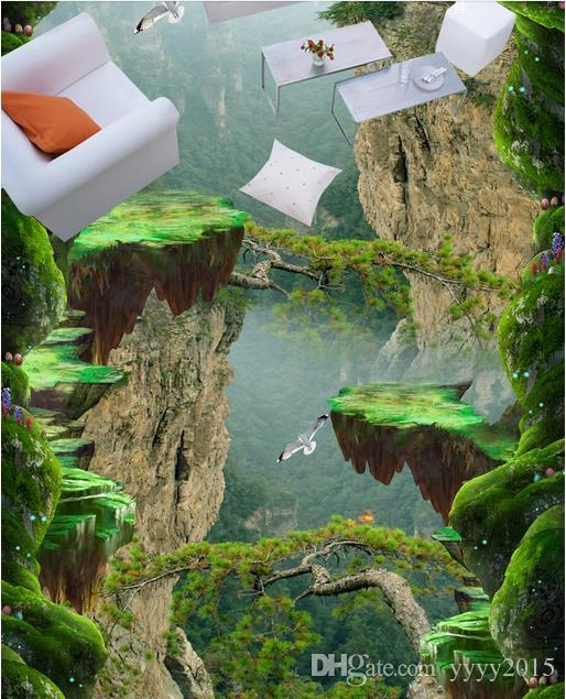 Painting PVC wallpaper Forest Valley Mountain peak stereo bathroom kitchen 3D floor stickers 3d wallpaper walls