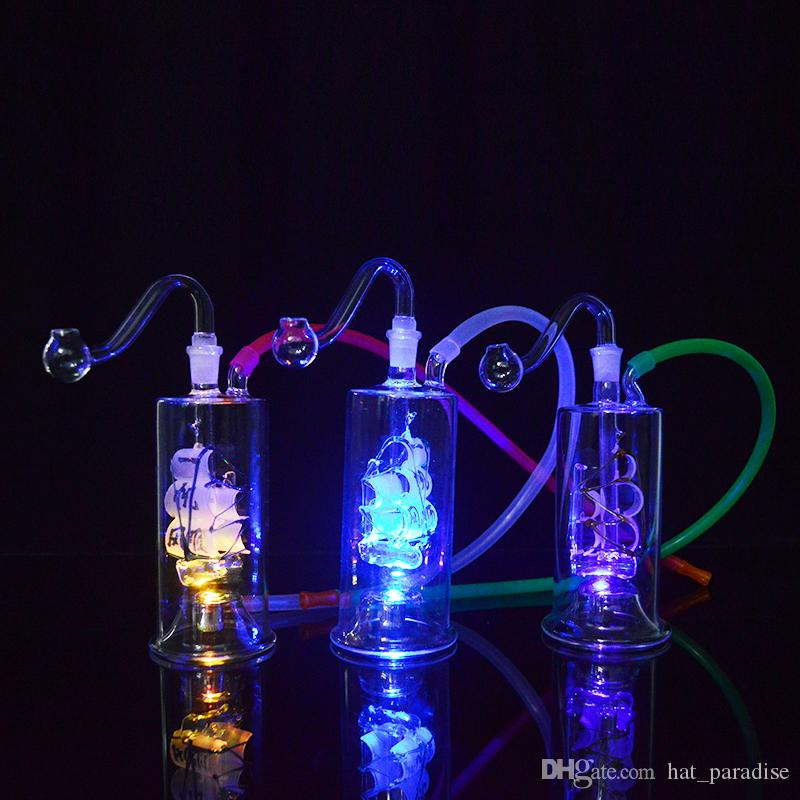 """5"""" Led Dab Rig Water Pipes Bongs Sailboat LED Glass Hookahs Oil Concerntrate Smoking Pipe with Inline Hammer Perc Portable Bubblers Oil Rig"""