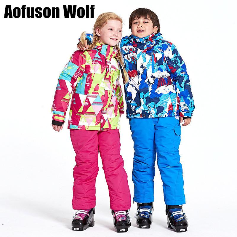 Kids Ski Suit Jacket Pants Of Set Waterproof Windproof Snow Winter Sports  Child Thickened Clothes Professional Skiing Snowboard UK 2019 From  Bingquanwat f7bfc5f4a