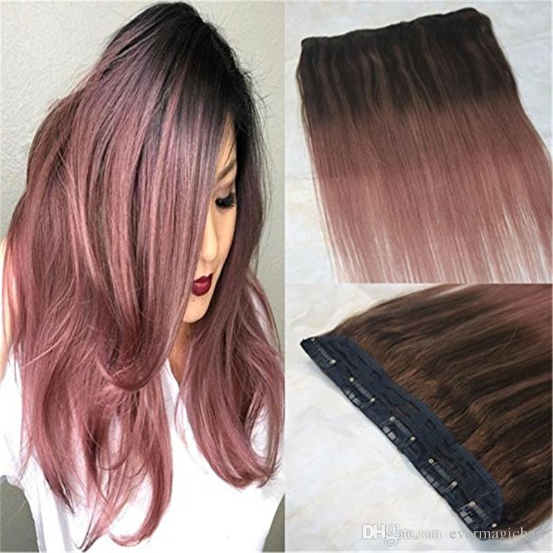 Omber Balayage Rose Gold One Piece Clip in Hair Extensions 5 clips Straight  Remy Hair Salon Quality 9A Grade 3/4 Full Head