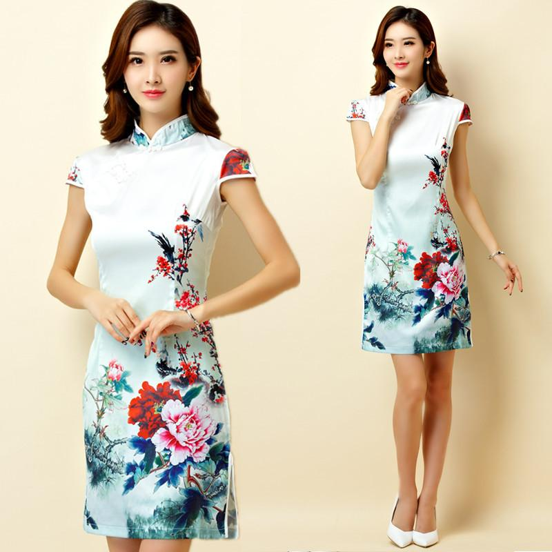 M~3XL Plus Size NEW Chinese Women Sexy Vintage Elegant Peony Plum Print Cheongsam  Qipao Short Party Female Big Dresses Vestidos Qipao Short Cheongsam Qipao  ... 8d2b943c1844