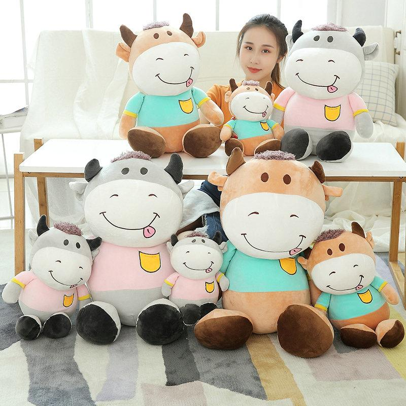 Yesfeier Big Toys Kawaii Lovers Animal Cattle Plush Dolls Kids Stuffed Toys Children Soft Comfort Baby Cows Wedding Gift