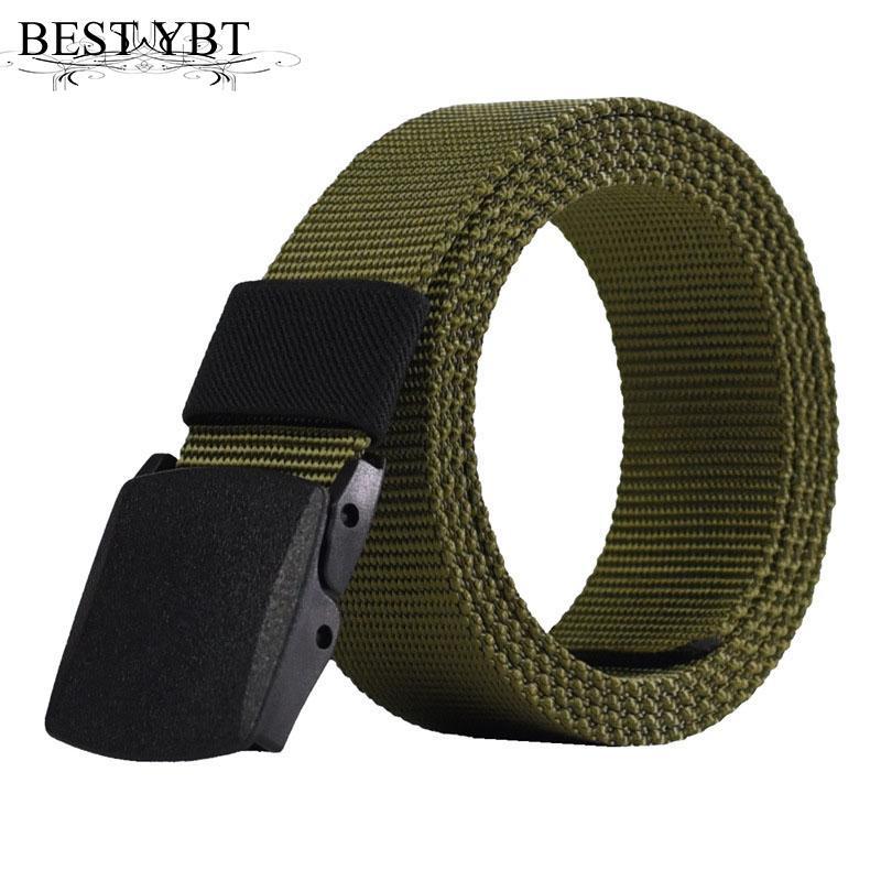 Best YBT men Belt Snap outdoors casual Military training Anti allergy plastic buckle without metal Belt Polyester fiber Belt