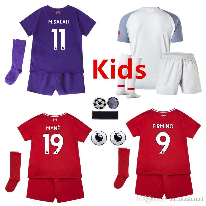 Compre Kit Crianças XXS XXL 16 28 M.SALAH Camisa De Futebol KEITA 2018 2019  Roxo Cinza 3ª FIRMINO COUTINHO 18 19 Criança Camisa De Futebol MANE LALLANA  De ... ba815d00a2f03