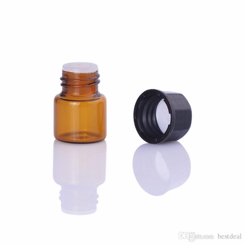 Botella de cristal ambarina 1ml para los aceites esenciales Mini botellas de aceite recargables de la muestra Vial de muestra ambarino 1CC, botella pequeña del aceite esencial POR DHL / EMS