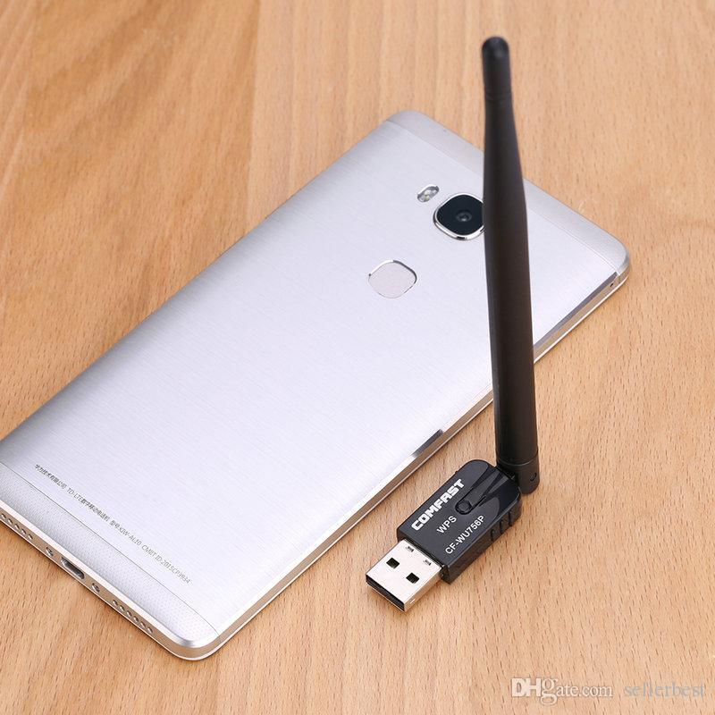USB-WLAN-Adapter 300 m 802.11 b / g / n WLAN-Karte 5 dBi-Antenne Wi-Fi USB-WLAN-Adapter Schwarz für Desktop-Laptops