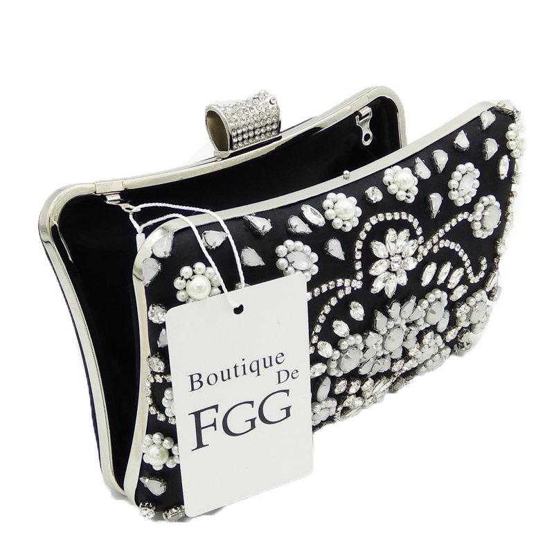 Boutique De FGG Negro Blanco Mujeres Con Cuentas Bolso de Noche de Moda de Metal de Cristal Embragues Wedding Party Flower Bolsos y Monederos
