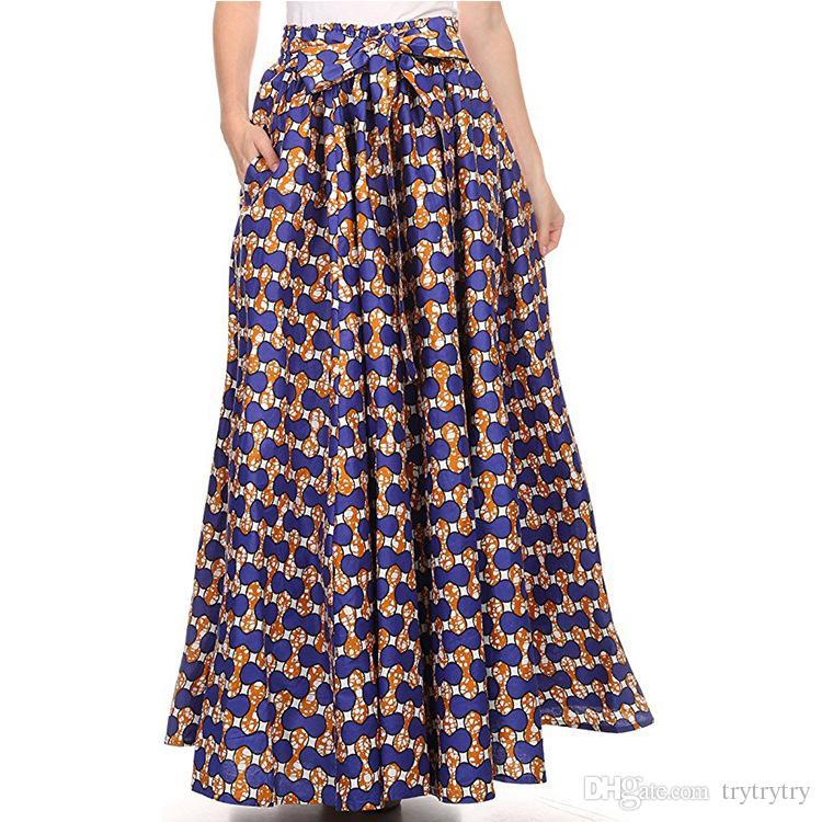 35099f774 Nueva falda floreada de Paisley Boho Dashiki Print alta cintura plisada  Beach Maxi Dress Ypf46