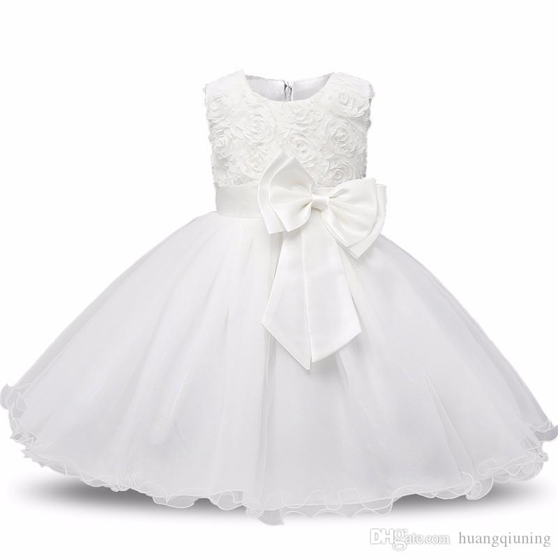 1d95a61d343de 2019 Baby Girl Christening Gowns Newborn Bebes 1 Year Birthday Dress Fuffly  Baby Frocks Designs Infant Princess White Party Costume 0 2 Years From ...