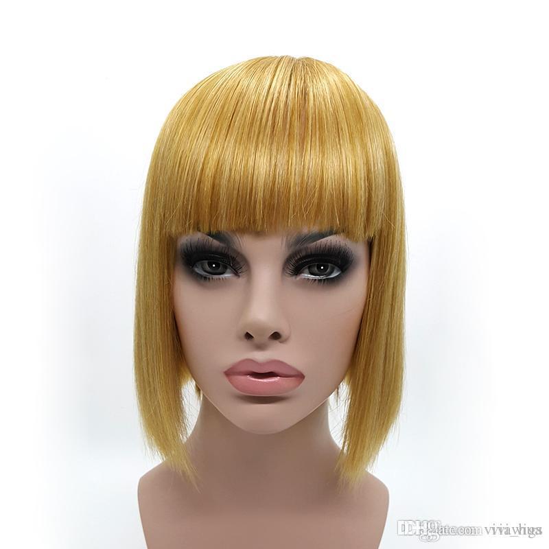 Satın Al Lady Gaga Saç Modeli Peruk Kısa Düz Saç Sarışın Bob Peruk