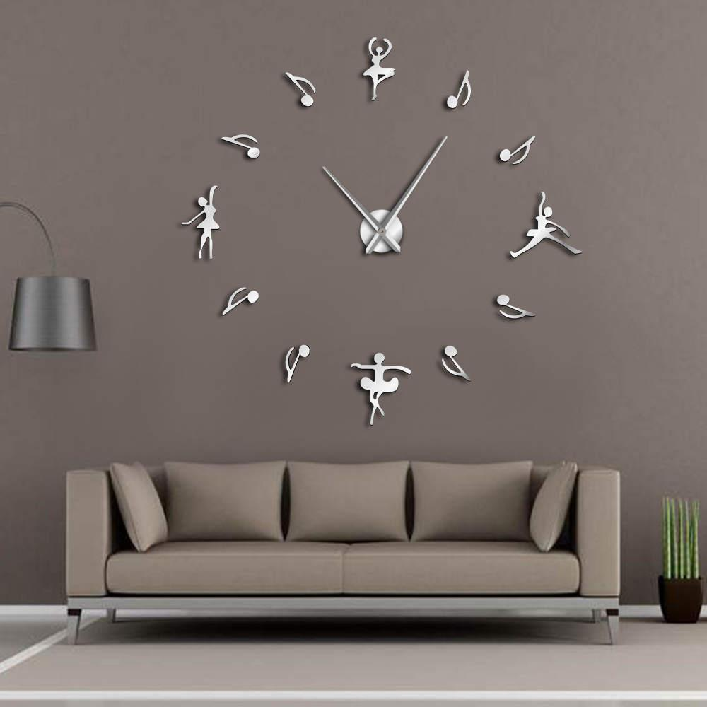 Ballerinas Wall Decor Diy Large Wall Clock Ballet Dancers Music