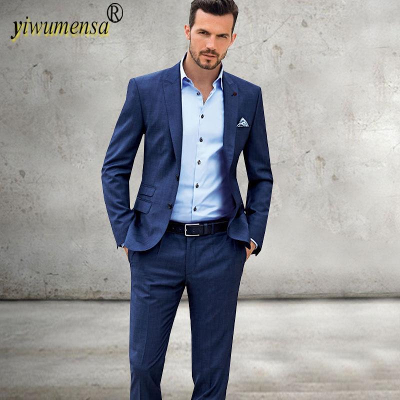 2018 Yiwumensa 2018 Skyfall Navy Blue Groom Suit Custom Made Men ...