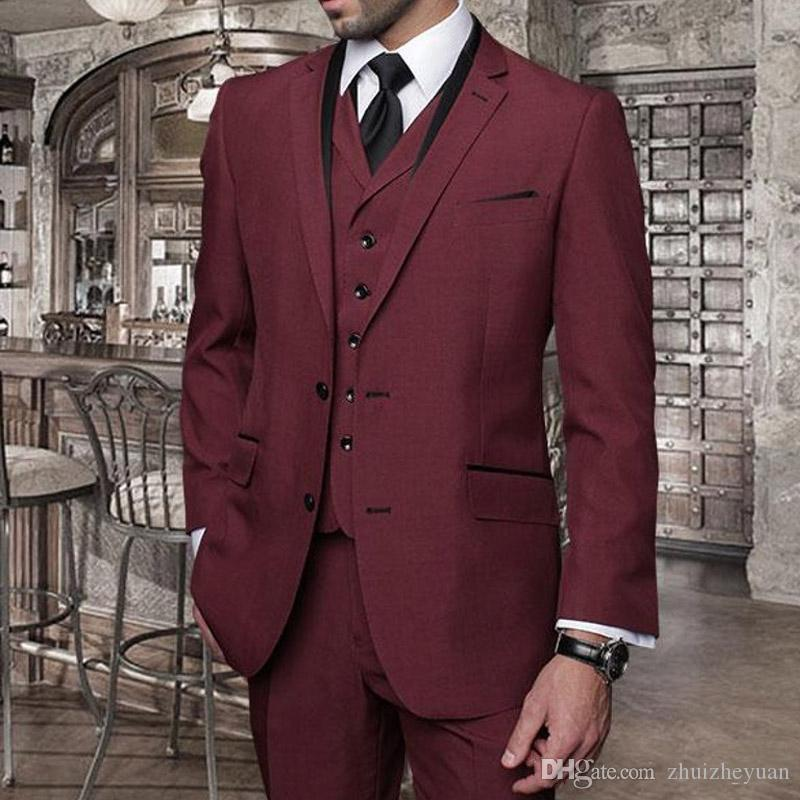 New Design Burgundy Business Men Suits Cheap Three Piece Groomsmen Tuxedos Notched Lapel Custom Made Wedding Suits Jacket+Pants+Vest
