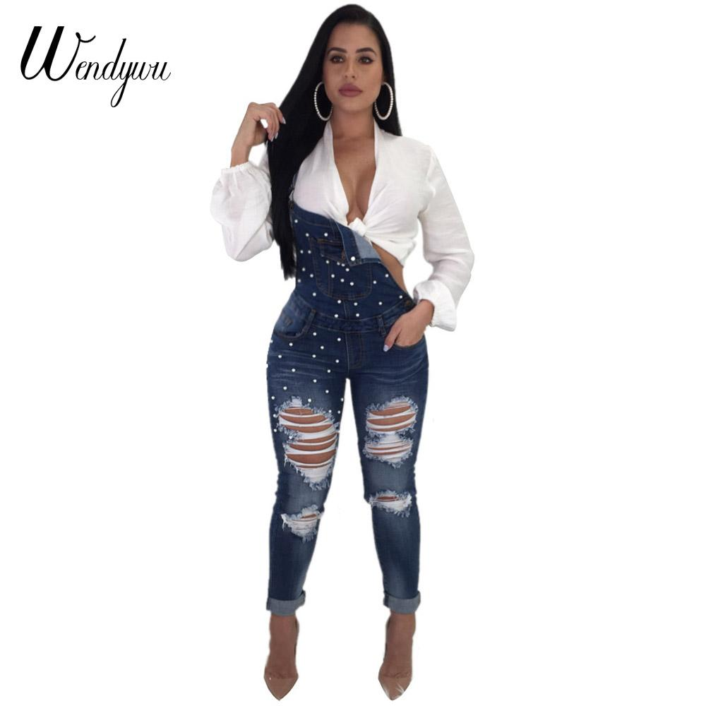 fbbd75e84d28 2019 Wendywu 2018 Autumn Women Denim Overalls Jumpsuits Ripped Holes Casual  Pockets Sleeveless Jumpsuits Hollow Out Slim Rompers From Dalivid