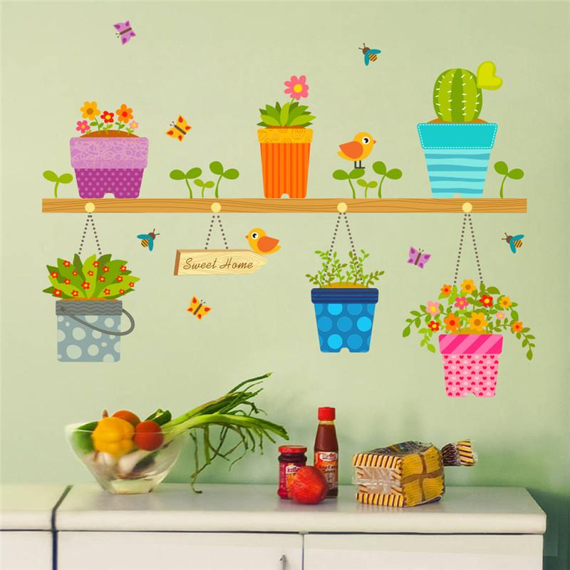 Diy Wall Stickers Home Decor Potted Flower Pot Window Glass Wall ...