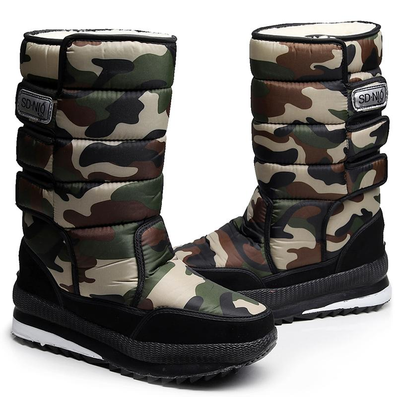 82f3ab27bd6 Men winter waterproof hunting boots thickening thermal snow boots outdoor  warm fur shoes camouflage desert male
