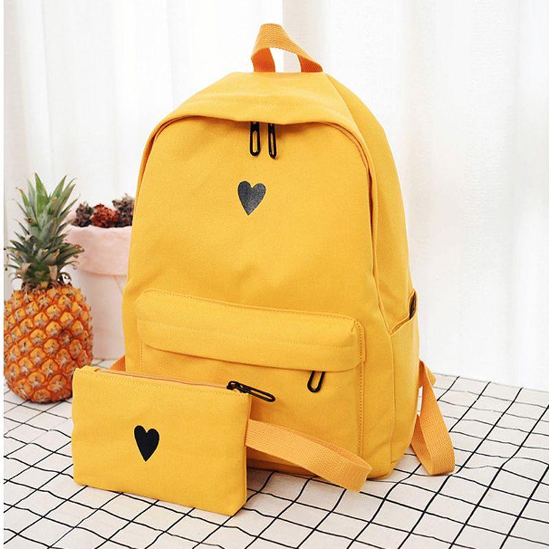 5297f13c68b6 Cute Heart Backpack Schoolbag Women Back Pack Female Canvas Printing Book  Bags Preppy Style Teenage Girls Rucksack Backpacks Cheap Backpacks 2 PCS Set  Cute ...