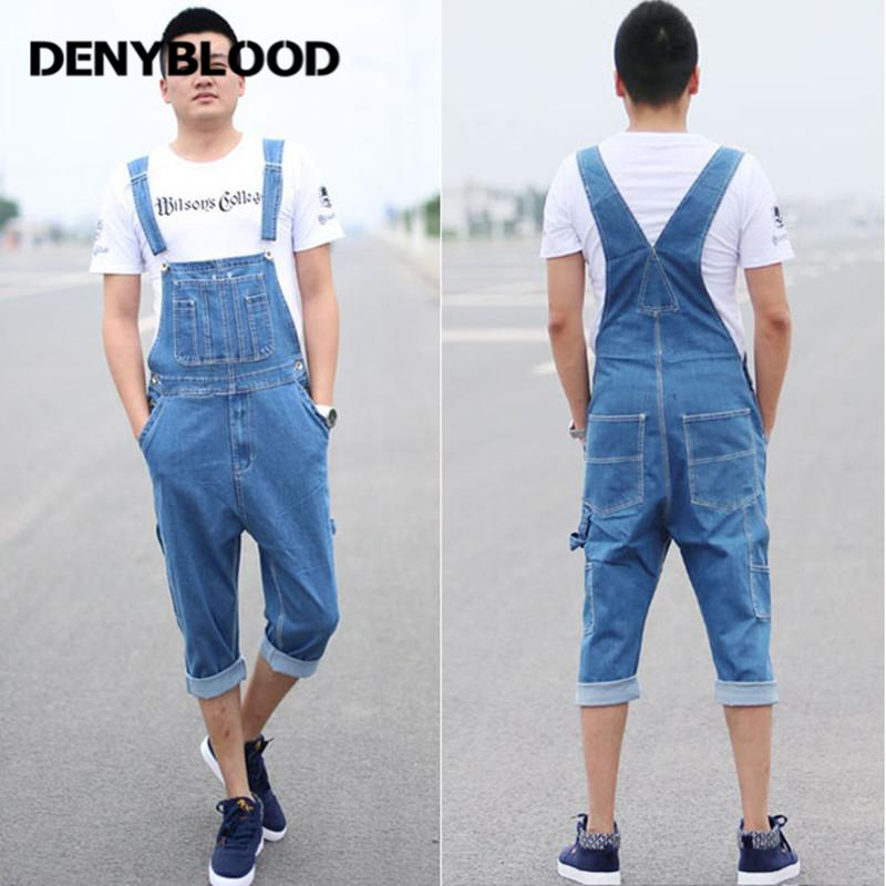 9482d956f3e5 2019 Denyblood Jeans 2017 Mens Short Denim Overalls Jeans Male Loose Denim  Jumpsuit Baggy Capris Suspenders Bib Bermuda 33130 From Hognyeni