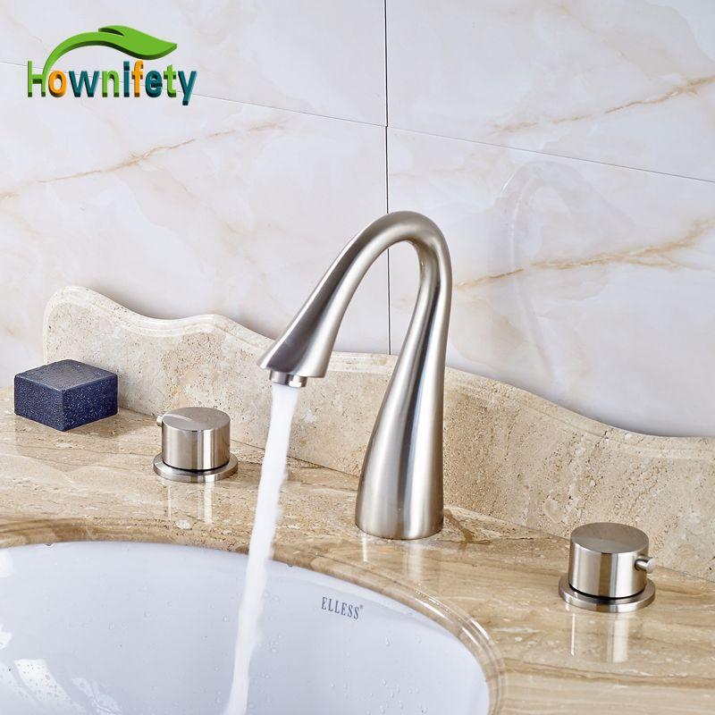 2018 Nickel Brushed Swan Neck Style Bathroom Sink Faucet Double ...