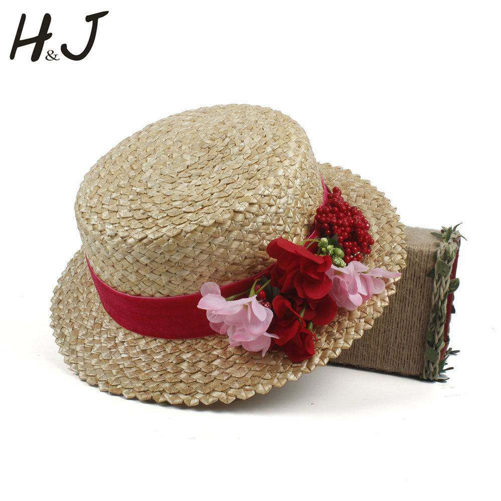 d3d354c62f9e6 Women Summer Wheat Straw Boater Hat Lady Beach Wide Brim Flat Sun Hat With  Handmade Weave Red Flower Size 56 58CM Vintage Hats Mens Caps From  Fabuline