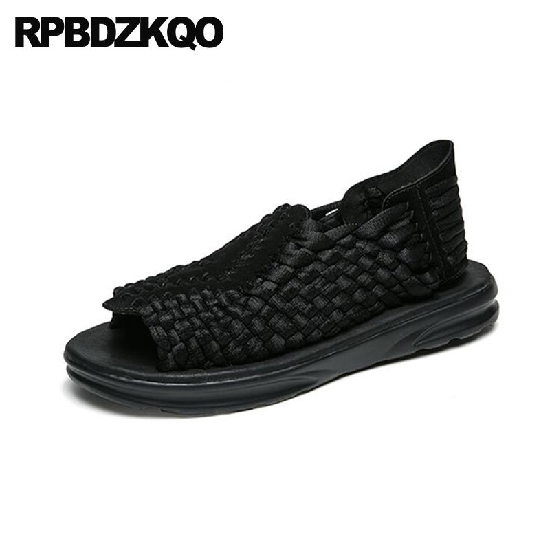 21ae9184d8d3 Shoes Black Designer Woven Beach Nice Men Mens Sandals 2018 Summer Outdoor  Flat Purple Slip On Casual Breathable Platform Jesus Sandals Black Wedges  From ...