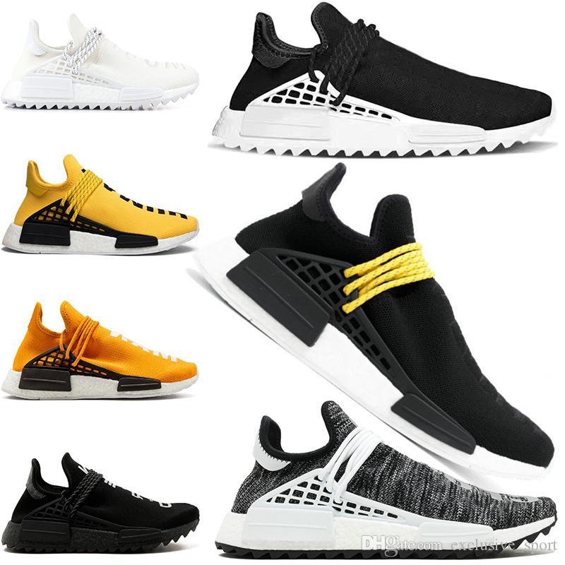 3231c52b9b2a3 Human Race Running Shoes Pharrell Williams Trail White Black Yellow  Designer Trainer Men Women Top Sport Sneaker Big Size 5 12 Womens Running  Shoes Sport ...