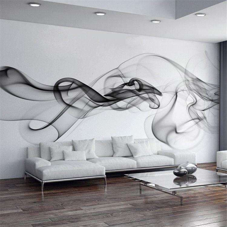 Papier Peint Personnalisé Moderne 3D Mur Papier Peint Papier Peint Noir  Blanc Fumée Art Design Chambre Bureau Bureau Salon Papier Peint