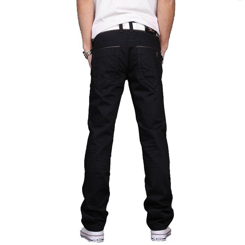 55ab87094d Compre Marca Clásica Pantalones De Mezclilla Hombres Rectos Delgados Para Hombre  Pantalones Vaqueros Negros Diseño Desgastado Lavado Casual Jeans Hombre Más  ...