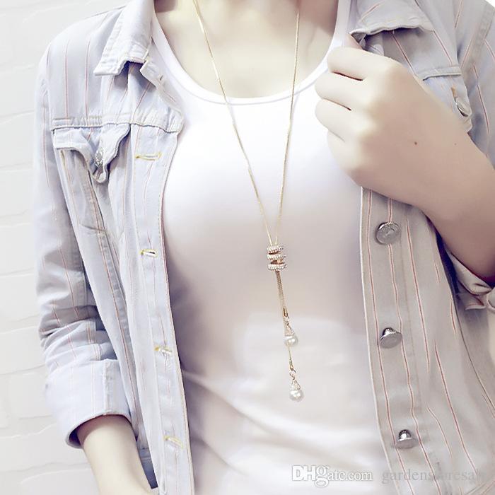 2016 nuove donne del tutto-fiammifero della catena del maglione della nappa femminile lunga collana lunga pendente ciondolo abiti semplici accessori