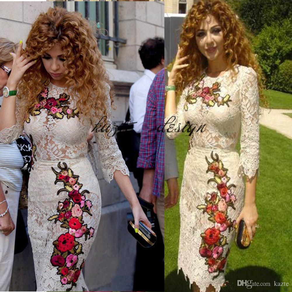 Slim Myriam Fares Celebrity Party evening Dresses Arabic Embroidery Crew Neck Full Lace Short Prom Gowns with Long Sleeves Chinese Cheongsam