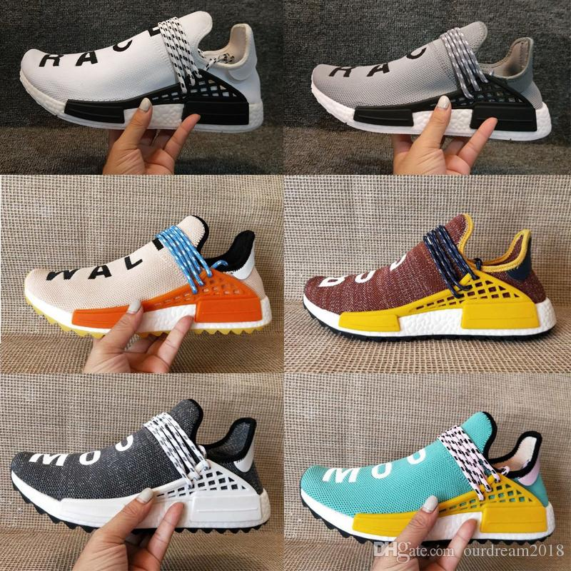 28b046331cd8b 2019 2018 NERD Human Race Hu Trail X Pharrell Williams Men Running Shoes  Solar Pack Afro Holi Blank Canvas Mens Trainers Women Sports Sneaker From  ...