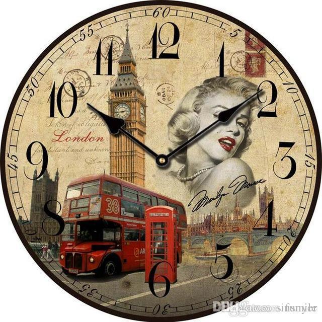 Großhandel Groß Big Ben Große Dekorative Wanduhren London Modern Design  Vintage Antik Holz Wanduhr Auf Der Wand Home Decor Uhr Holz Von Funyer, ...