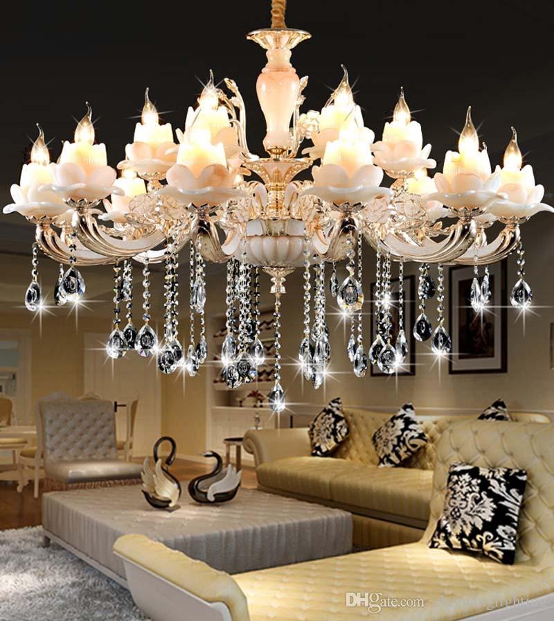 Lustre en cristal européen vivant lampe chambre luxueuse chambre de lustre de jade lumière restaurant Lustres en cristal d'alliage de zinc