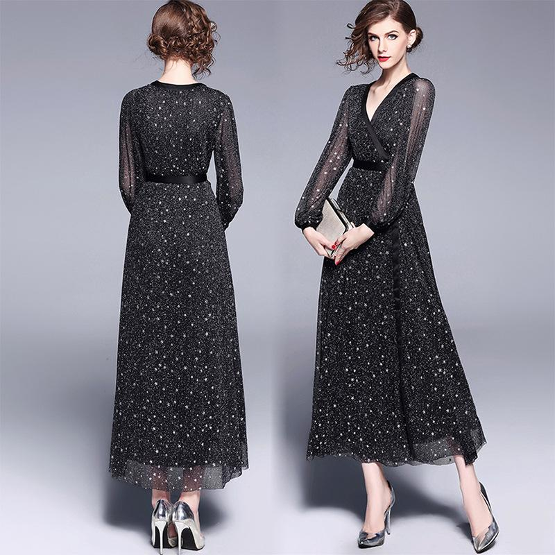 2019 Dresses Party Evening Prom Dress Cocktail Dresses Black V Neck Long  Sleeve Dress High Waist Elegant Temperament Long Style Sexy A Skirt From  Lindapyl ff09046e3