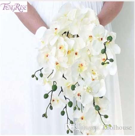 Bouquet Da Sposa Orchidee.Fengrise Artificiale Orchidea Fiori Orchidea Bianca Phalaenopsis Sposa Bouquet Da Sposa Farfalla Orchidea Bridal Shower Decoration