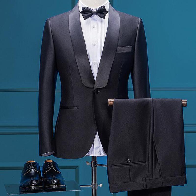 Acheter Classique Vintage Costumes Pour Hommes Noir Style Italien Marque De  Luxe Formelle De Mariage Bureau Costume Veste Pantalon Homme Vêtements De  ... d9eaacc2b05