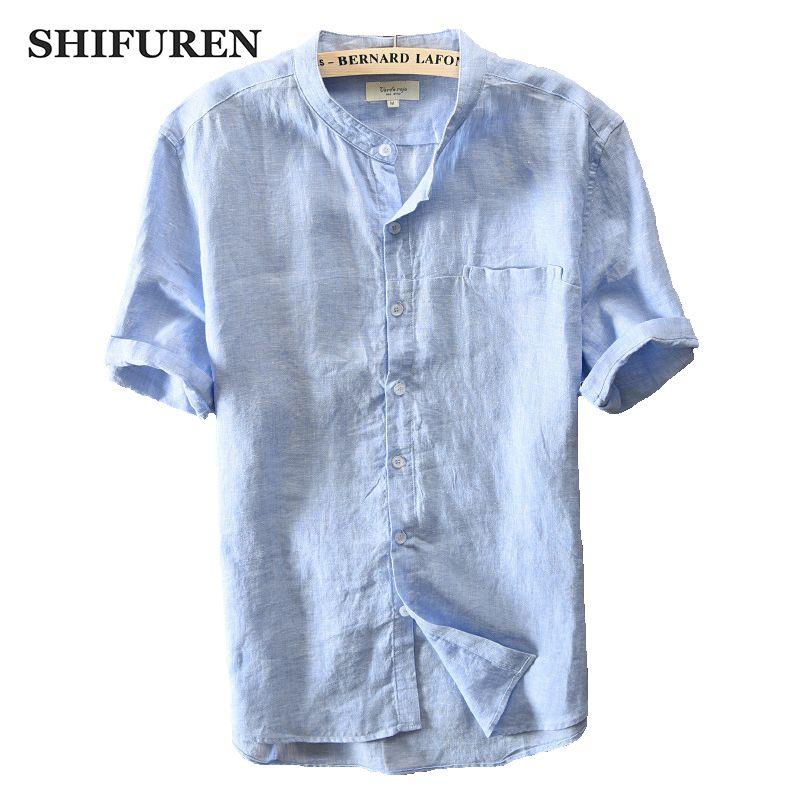 d3a811f7412e6 Satın Al SHIFUREN Yeni Yaz Nedensel Erkekler Gömlek 100% Saf Keten Nefes  Kısa Kollu Mandarin Yaka Gömlek Boyutu M XXXL Erkek Giyim, $39.47 |  DHgate.Com'da