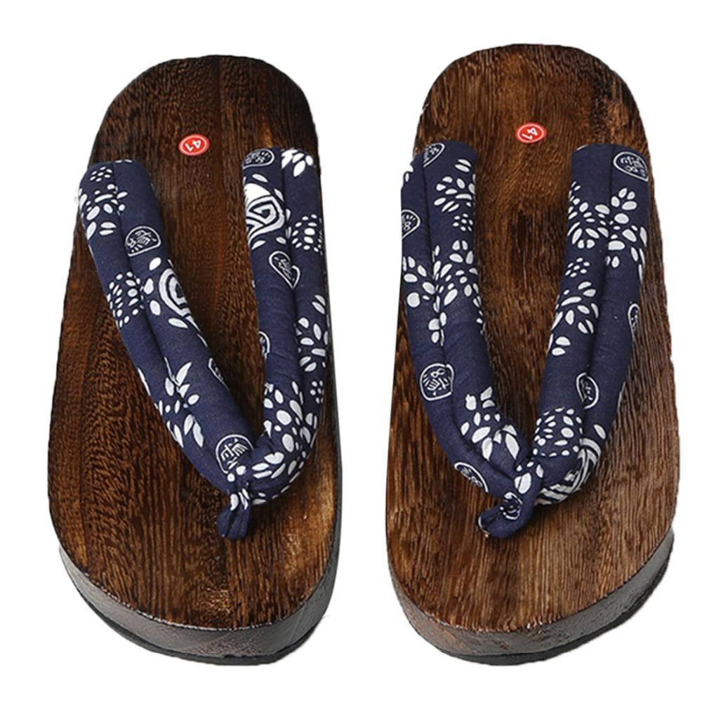 Wooden Sole Men Flip Flops Summer Man Sandals Wooden Slippers Flats Flip Flops Low Heel Men Slippers Outsideindoor