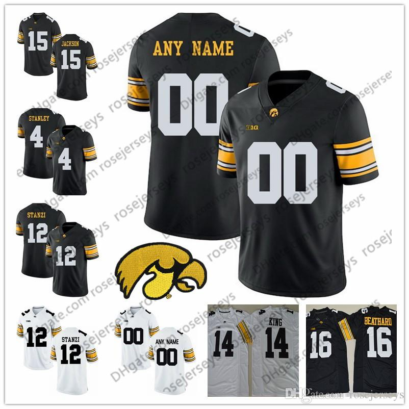 uk availability 03b13 d680d Custom Iowa Hawkeyes 2019 Football Any Name Any Number White Black King  Stanzi 4 Nate Stanley 87 Noah Fant 38 TJ Hockenson Jersey