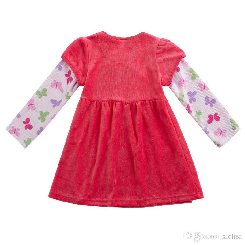 2018 Spring novatx F7139 retail fuchsia baby girl clothes winter dress children kids girl for beautiful party dress Shear plush kids frocks