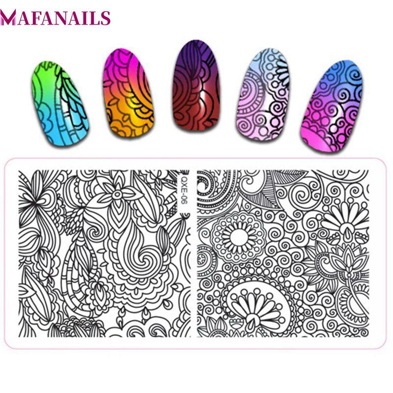Flower Theme Rec Nail Art Stamp Template Image Plate Stainless Steel